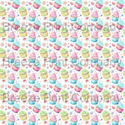 Cupcake and candy pattern printed craft vinyl sheet - HTV -  Adhesive Vinyl -  watercolor sweets birthday HTVWC23 - Breeze Crafts