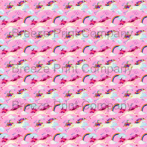 Unicorn and rainbow pattern printed craft vinyl sheet - HTV -  Adhesive Vinyl -  watercolor birthday HTVWC30