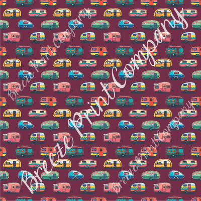 Camper craft  sheet - HTV -  Adhesive Vinyl -  retro trailer pattern printed vinyl maroon background camping HTV18505 - Breeze Crafts