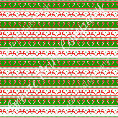 Christmas reindeer and candy cane pattern craft vinyl pattern sheet - HTV -  Adhesive Vinyl -  holiday vinyl red and green stripes HTV1397 - Breeze Crafts