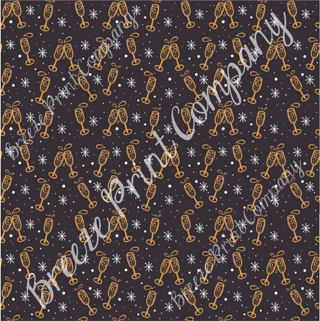 New Years champagne and snowflake pattern craft vinyl pattern sheet - HTV -  Adhesive Vinyl -  holiday vinyl black and gold HTV1398
