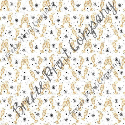 New Years champagne and snowflake pattern craft vinyl pattern sheet - HTV -  Adhesive Vinyl -  holiday vinyl white and gold HTV1399