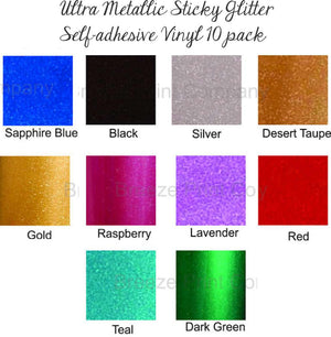Glitter sticky vinyl Ultra Metallic adhesive outdoor viny sheets FDC 3700 series 10 pack bundle of 12x12 inch sheets - Breeze Crafts