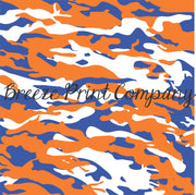 Blue, orange and white camouflage craft  vinyl - HTV -  Adhesive Vinyl -  camo pattern  HTV10430 - Breeze Crafts