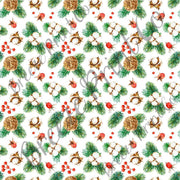 Cotton, evergreen and berry Christmas pattern printed craft vinyl sheet botanical watercolor cotton branch plant HTVWC32 - Breeze Crafts