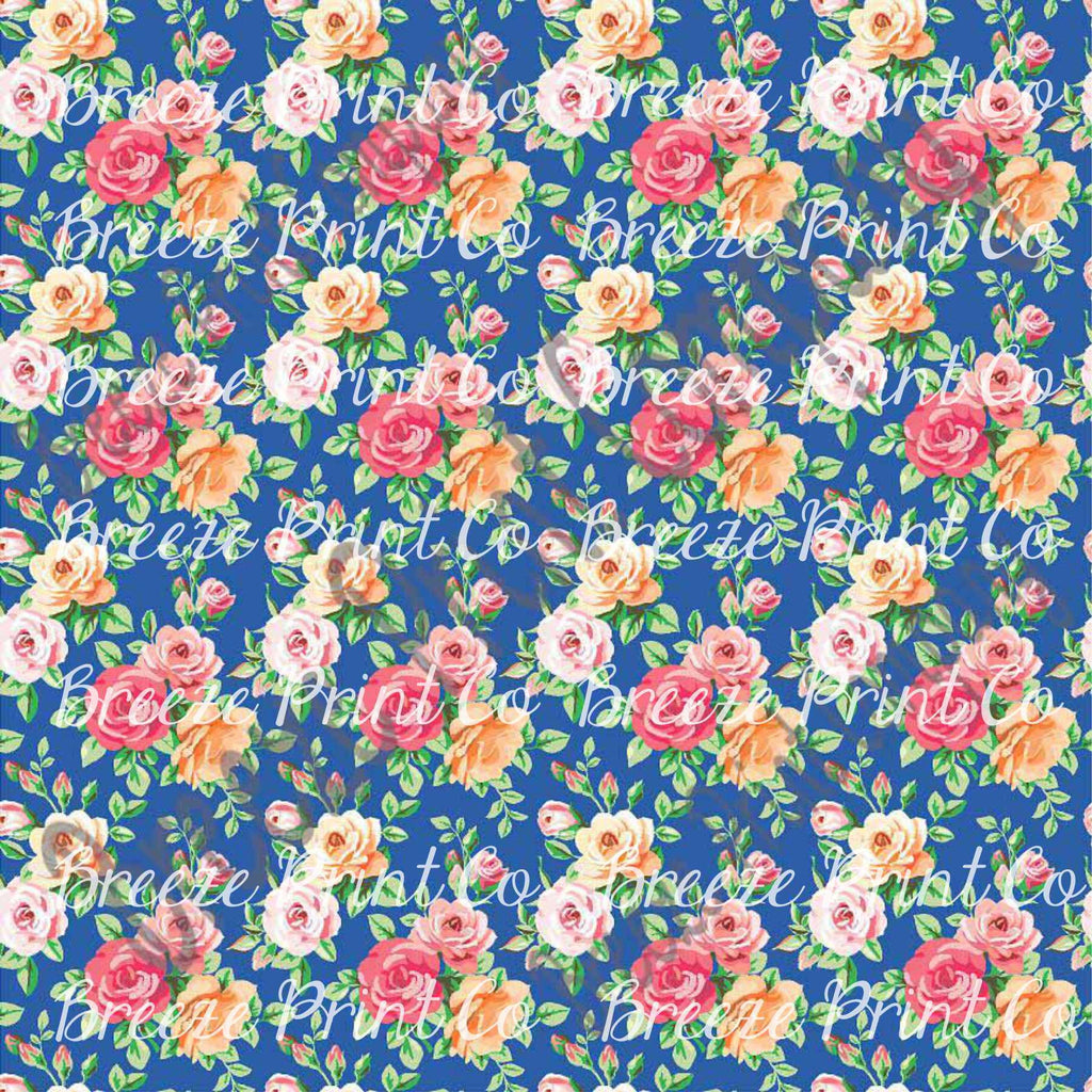Rose floral craft  vinyl sheet - HTV -  Adhesive Vinyl -  with blue background flower pattern vinyl  HTV2232