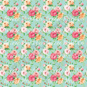 Rose floral craft  vinyl sheet - HTV -  Adhesive Vinyl -  with mint background flower pattern vinyl  HTV2230