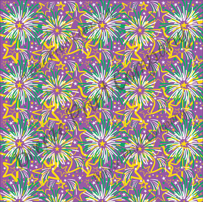 HTV Mardi Gras Purple, yellow and green fireworks pattern craft vinyl sheet - HTV -  Adhesive Vinyl -  HTV2259
