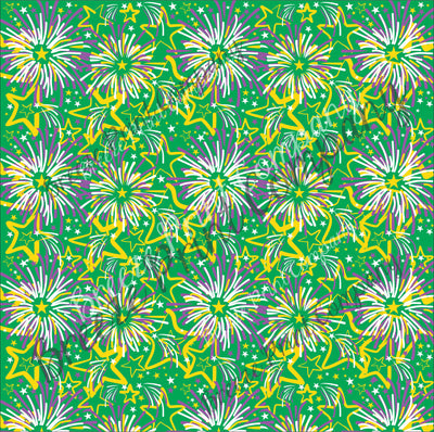 HTV Mardi Gras green, yellow and purple fireworks pattern craft vinyl sheet - HTV -  Adhesive Vinyl -  HTV2260
