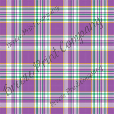 Craft pattern HTV purple, yellow, green and white plaid craft vinyl printed sheet - HTV -  Adhesive Vinyl -  Mardi Gras HTV3413 - Breeze Crafts