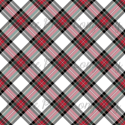 White, red, green and black Stewart plaid craft vinyl sheet - HTV -  Adhesive Vinyl -  Christmas dress tartan HTV1868