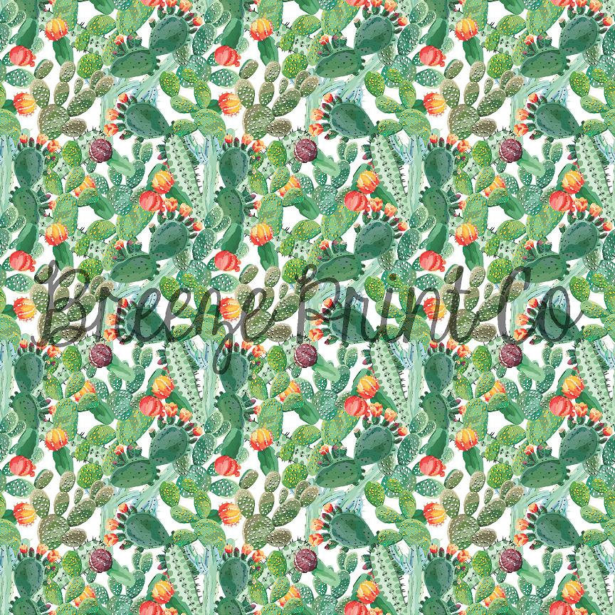 Cactus and flower patterned vinyl sheet - HTV or Adhesive Vinyl,  HTV2013 - Breeze Crafts