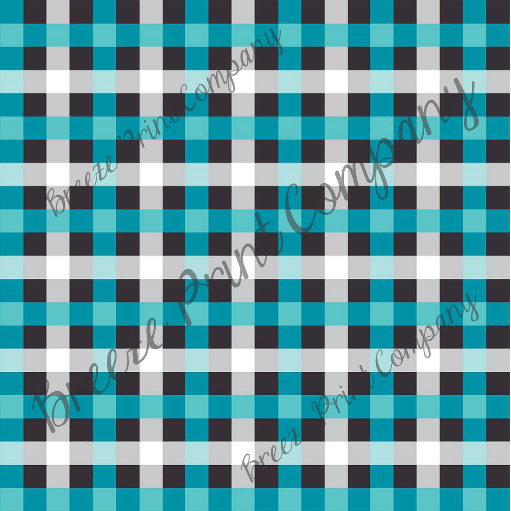 Craft pattern HTV teal, grey, black and white buffalo check craft vinyl printed sheet - HTV -  Adhesive Vinyl -  HTV3411 - Breeze Crafts
