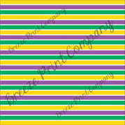 Stripe Pattern Vinyl purple, yellow, green and white - HTV -  Adhesive Vinyl -  Mardi Gras HTV3028