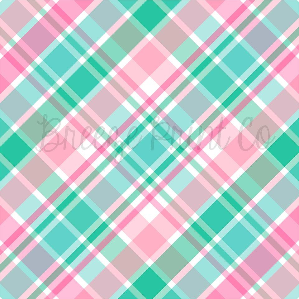 Mint and pink plaid patterned vinyl sheet, HTV or Adhesive Vinyl, indoor vinyl, outdoor vinyl, spring, Easter heat transfer vinyl  HTV1848