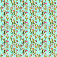 Cactus flower pattern printed craft vinyl sheet - HTV -  Adhesive Vinyl -  botanical drawn succulent desert plant cacti HTV2012 - Breeze Crafts