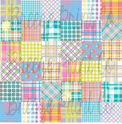 Pastel Patchwork quilt plaid patterned craft vinyl sheet, HTV or Adhesive Vinyl, indoor vinyl, outdoor vinyl, heat transfer vinyl  HTV1847