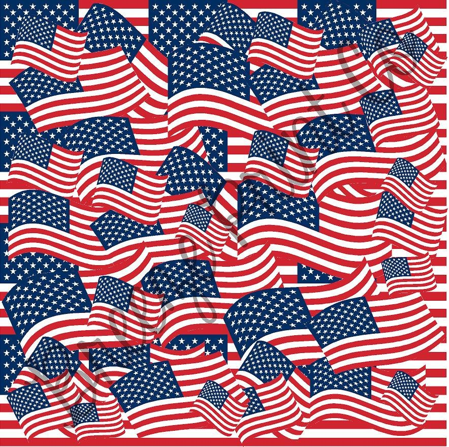 Waving American flag patterned vinyl sheet, heat transfer / HTV or Adhesive Vinyl - indoor, outdoor, glitter, stacked flags, USA  HTV2814