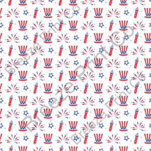 Fireworks,  hat and stars Fourth of July pattern vinyl sheet, heat transfer / HTV or Adhesive Vinyl HTV2818 - Breeze Crafts