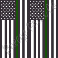 Green line armed forces flag HTV or adhesive patterned craft vinyl sheets, vertical flags, heat transfer vinyl, printed vinyl
