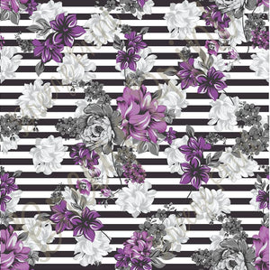 Purple and gray striped floral craft patterned vinyl sheet, heat transfer / iron on HTV or Adhesive Vinyl,  flower pattern vinyl  HTV7811