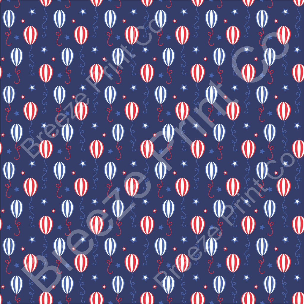 Balloon and Stars Fourth of July patterned vinyl sheet, HTV or Adhesive Vinyl - HTV2815 - Breeze Crafts