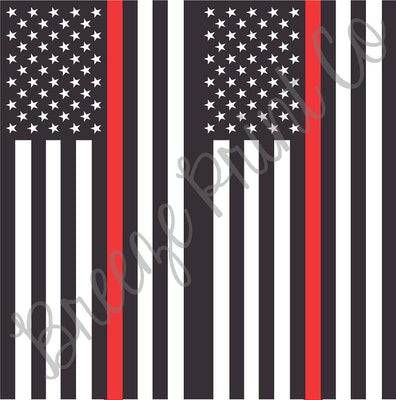 Flag craft patterned vinyl sheet - HTV, heat transfer vinyl or Adhesive Vinyl - pattern black and white with red line, firefighter HTV2823. - Breeze Crafts