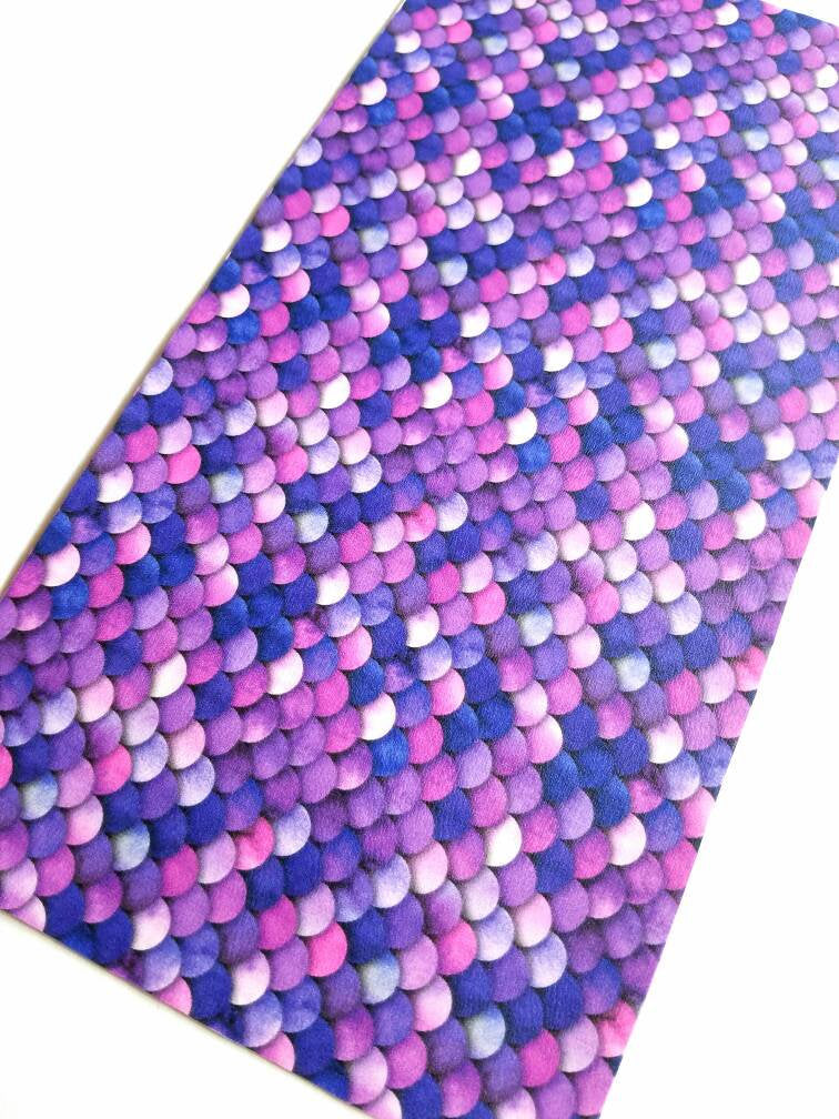 Mermaid faux leather sheets, patterned faux leather, leather fabric, vinyl fabric, pink, purple, blue scale pattern for earrings, bows L3154