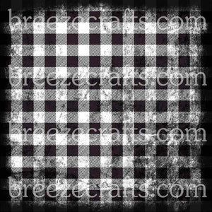 Black and White Distressed Buffalo Plaid Patterned Vinyl, heat transfer or Adhesive Vinyl - HTV1873 - Breeze Crafts