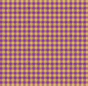 Buffalo Plaid Faux leather sheets, patterned faux leather, leather fabric, vinyl fabric, purple and gold plaid leather, fake leather L1868 - Breeze Crafts