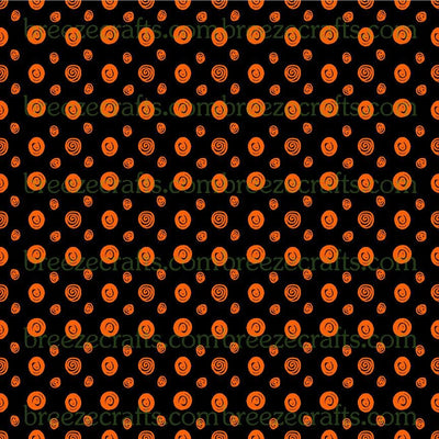 Black and Orange Swirl Dot Patterned Vinyl, pattern craft vinyl sheets - HTV or Adhesive Vinyl -  Halloween polka dot pattern HTV8700 - Breeze Crafts
