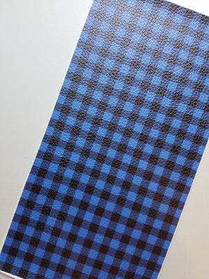 Buffalo Plaid Faux leather sheets, patterned faux leather, leather fabric, vinyl fabric, blue/black plaid leather for earrings, bows L1809 - Breeze Crafts