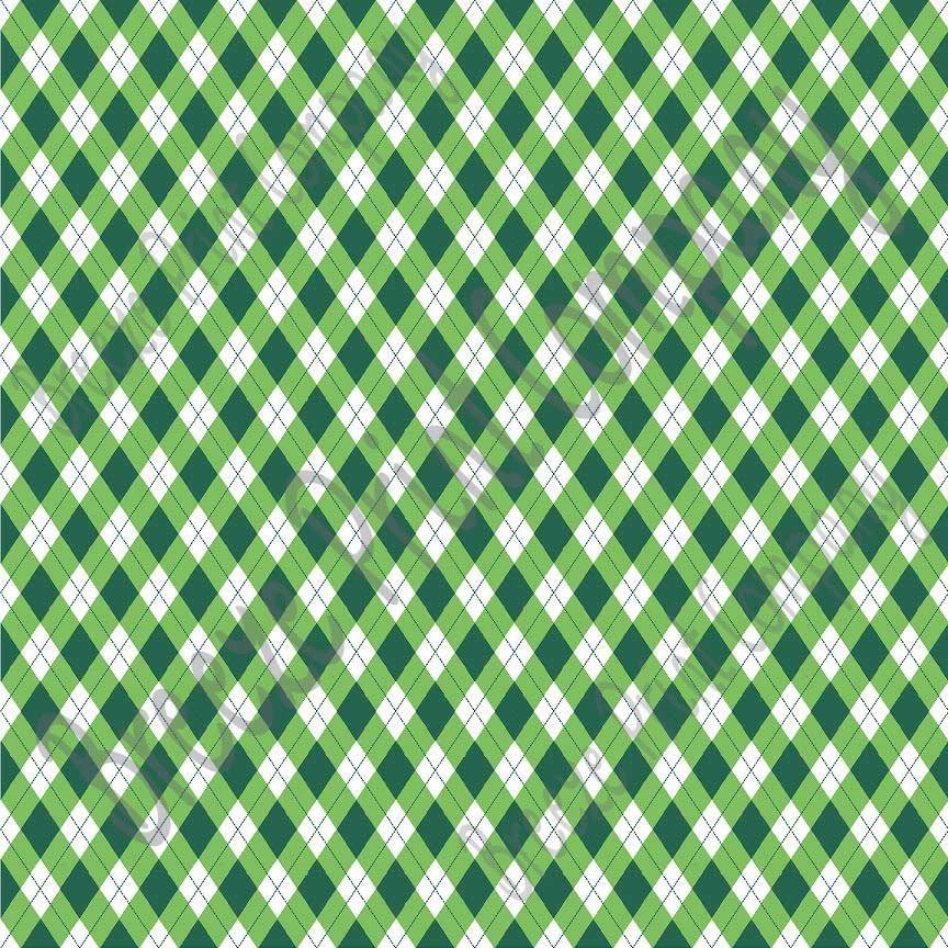 Argyle faux leather sheets, patterned faux leather, leather fabric, vinyl fabric,  green and white for earrings, bows and more L3805 - Breeze Crafts