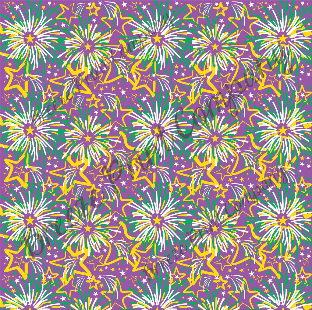 Fireworks Faux leather sheets, patterned faux leather, leather fabric, vinyl fabric, Mardi Gras purple pattern for earrings,bows L2259 - Breeze Crafts