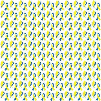Down Syndrome Pattern Vinyl in HTV or adhesive, blue and yellow butterfly and ribbon pattern, heat transfer or Adhesive Vinyl HTV2154 - Breeze Crafts