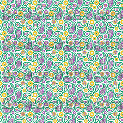 Mardi Gras Paisley Patterned Vinyl sheets, white, green, yellow and purple pattern craft vinyl sheets - HTV or Adhesive Vinyl -  HTV1936