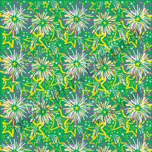 Fireworks Faux leather sheets, patterned faux leather, leather fabric, vinyl fabric, Mardi Gras green pattern for earrings,bows L2260 - Breeze Crafts