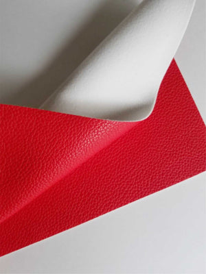 Bright red textured faux leather sheets, solid litchi leather fabric, A4 8x11 inch sheets  12167 - Breeze Crafts