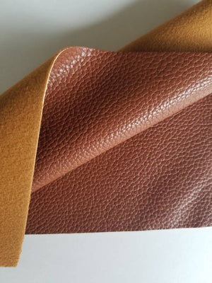 Chestnut brown textured faux leather sheets, solid litchi pebbled leather fabric, for bows, earrings and more A4 8x11 inch sheet 18124 - Breeze Crafts