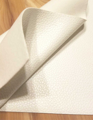 White textured faux leather sheets, solid litchi pebbled leather fabric, for bows, earrings and more, A4 8x11 inch sheets  11001