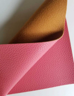 Hibiscus textured faux leather sheets, coral solid litchi leather fabric, A4 8x11 inch sheets  12203