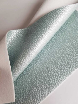 Metallic mint textured faux leather sheets, solid pearl litchi pebbled leather fabric, for bows, earrings and more A4 8x11 inch sheet M17195