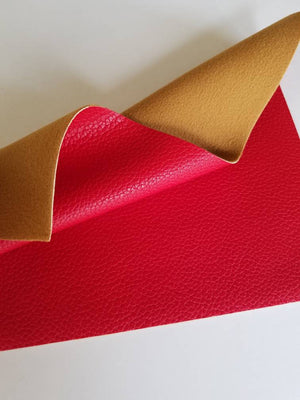 Red textured faux leather sheets, solid litchi pebbled  leather fabric, for bows, earrings and more A4 8x11 inch sheet 12185