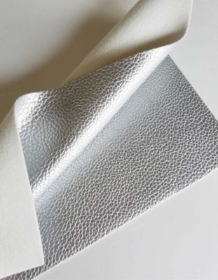 Metallic platinum textured faux leather sheets, solid litchi pebbled leather fabric, for bows, earrings and more A4 8x11 inch sheet M11041