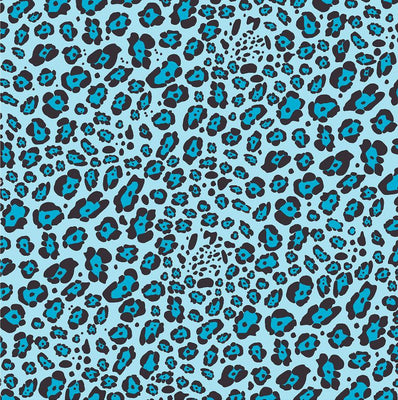 Aqua leopard craft  vinyl sheet - HTV -  Adhesive Vinyl -  aqua and black pattern vinyl   HTV226 - Breeze Crafts
