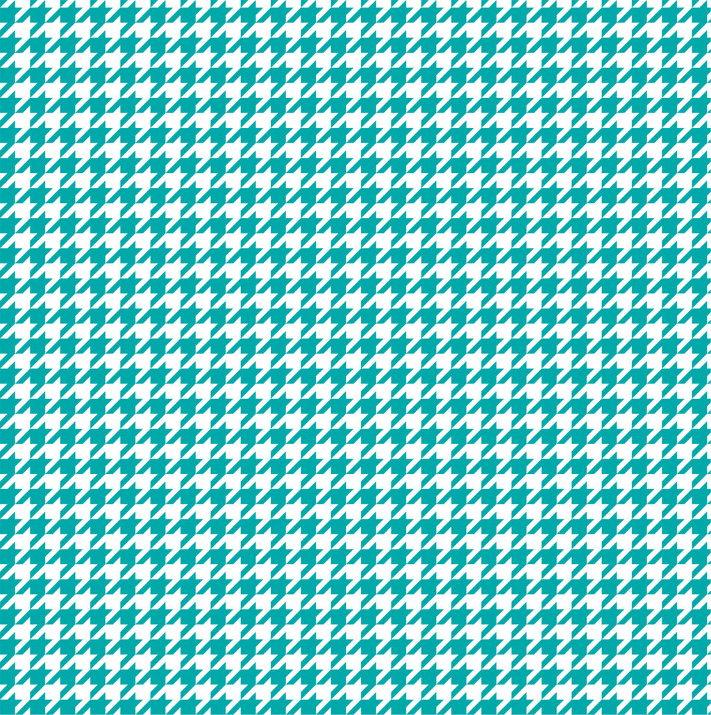 Teal houndstooth craft  vinyl sheet - HTV -  Adhesive Vinyl -  teal and white pattern vinyl  HTV 401