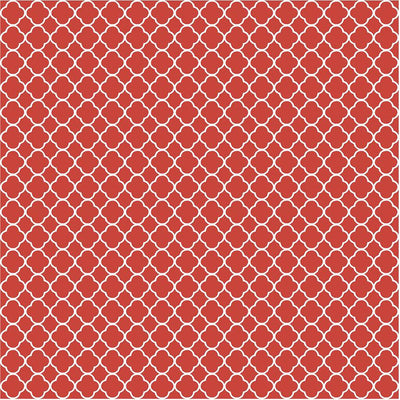 Brick red quartrefoil craft  vinyl - HTV -  Adhesive Vinyl -  dark red burgundy and white pattern vinyl HTV554 - Breeze Crafts