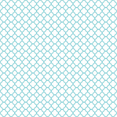 Aqua quarterfoil craft  vinyl - HTV -  Adhesive Vinyl -  white with aqua clover quatrefoil pattern vinyl HTV548 - Breeze Crafts