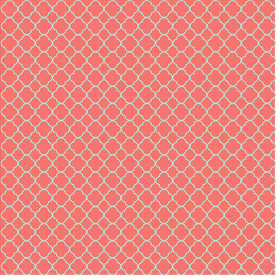 Coral and mint quartrefoil craft  vinyl - HTV -  Adhesive Vinyl -  clover quatrefoil pattern vinyl HTV516 - Breeze Crafts