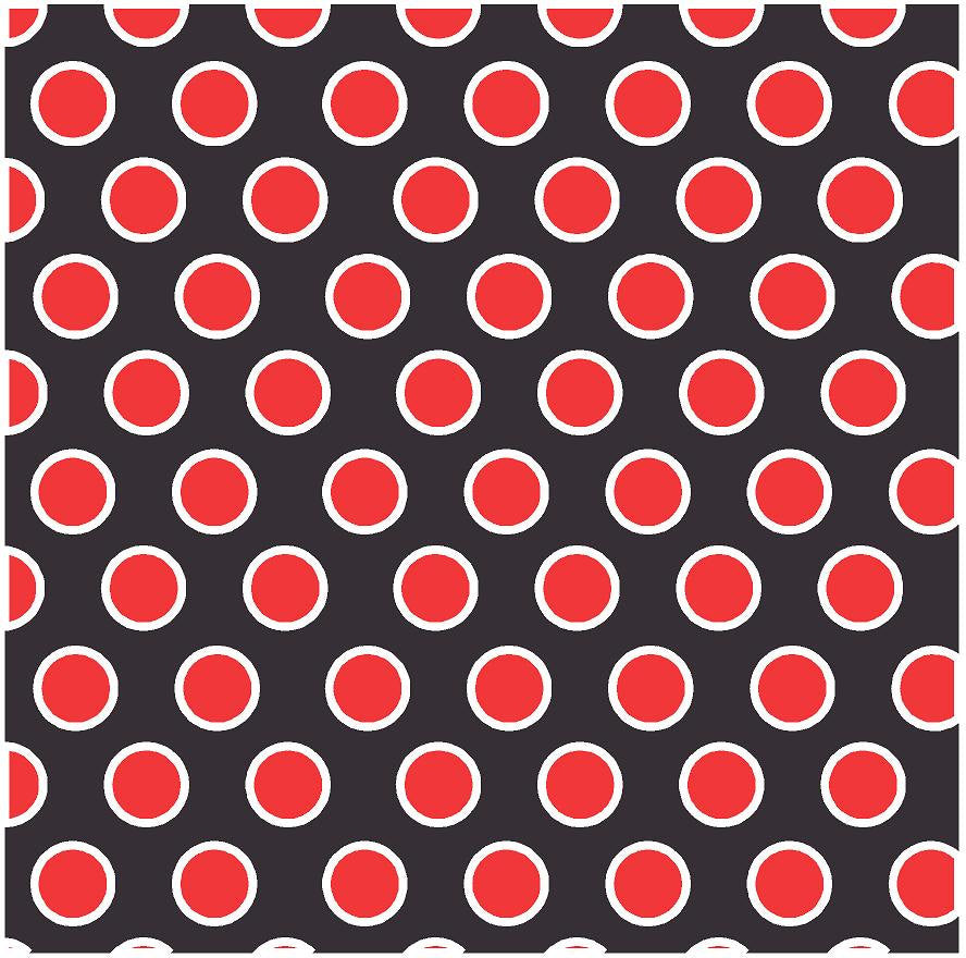 Black with red and white dots craft  vinyl - HTV -  Adhesive Vinyl -  large polka dot pattern HTV705 - Breeze Crafts